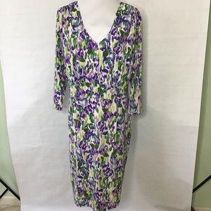 Abstract Purple V Neck Dress by Chadwicks